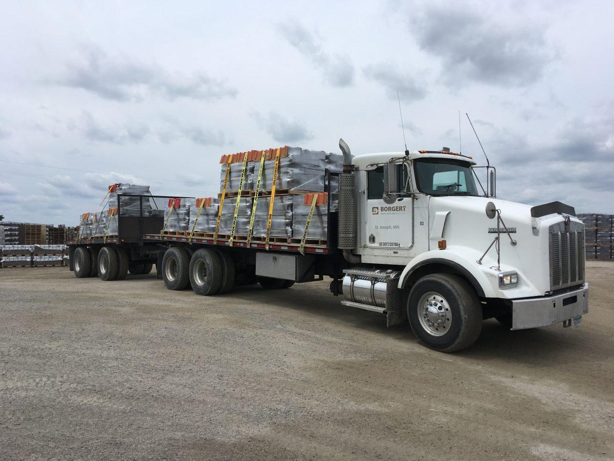 Truck with Retaining Wall Blocks